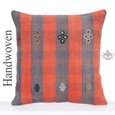 Orange Striped Kilim Rug Throw Pillow 24x24 Decorative Turkish Cushion