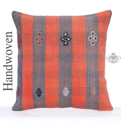 Orange Striped Kilim Rug Throw Pillow 24x24 Decorative Turkish Cushion