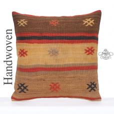 "Shabby Cottage Kilim Pillow Cover 24x24"" Large Embroidered Decor Throw"