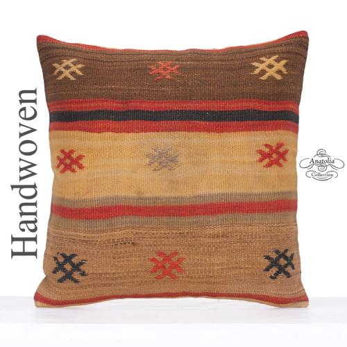"""Shabby Cottage Kilim Pillow Cover 24x24"""" Large Embroidered Decor Throw"""