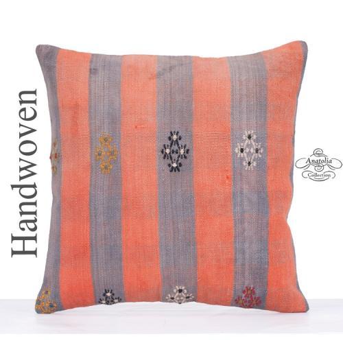 "Vintage Large Kilim Pillow 24x24"" Ethnic Decorative Turkish Cushion"