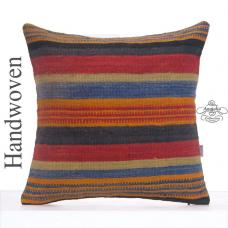"Art Deco Striped Pillow 24x24"" Large Colorful Hand Woven Kilim Cushion"