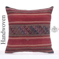 Tribal Decorative Large Pillow 24x24 Vintage Turkish Kilim Rug Cushion