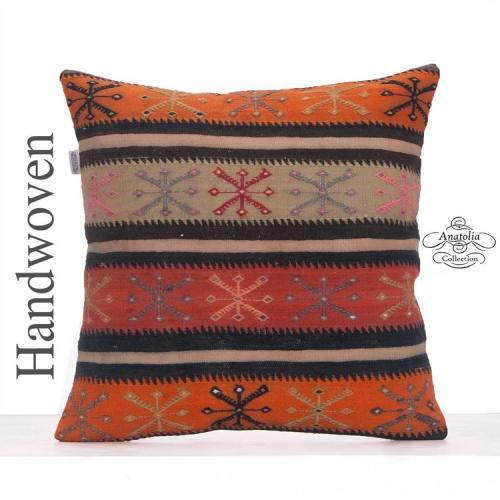 "Embroidered Designer Pillowcase 24"" Vintage Colorful Kilim Rug Pillow"
