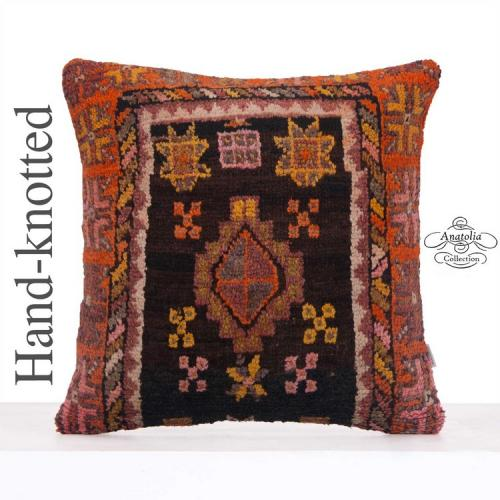 "Oriental Rug Cushion Black Centered Large Pillow 24x24"" Decor Throw"