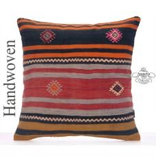 """Striped Rug Pillowcase 24x24"""" Large Turkish Handmade Kilim Cushion"""