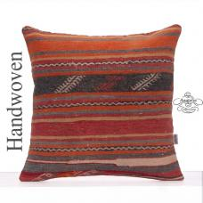 Vintage Striped Large Rug Cushion Cover 24x24 Embroidered Kilim Pillow