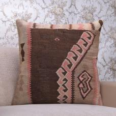"Antique Large Kilim Pillow 24x24"" Eastern Tribal Handmade Decor Throw"
