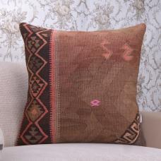 Earthy Vintage Kilim Throw Pillow 24x24 Eclectic Interior Decor Cushion