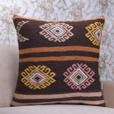 "Embroidered Brown & Pink Kilim Pillow 24"" Rustic Interior Decor Throw"