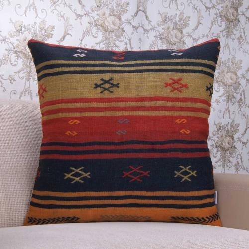 "Handmade Large Kilim Pillow 24x24"" Striped Ethnic Vintage Rug Cushion"