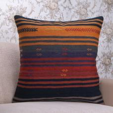 "Hook Embroidered Kilim Pillow Large 24x24"" Striped Vintage Rug Throw"