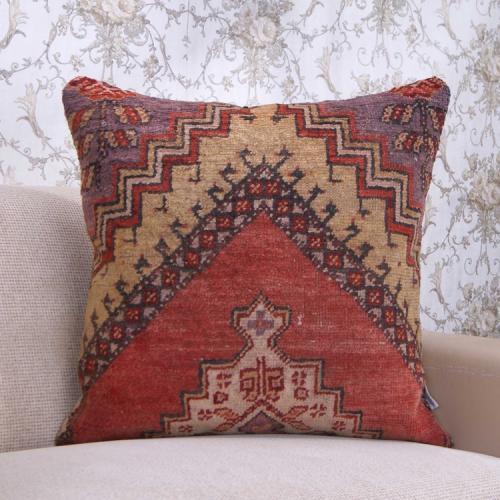 "Large Anatolian Rug Pillow 24x24"" Handmade Vintage Sofa Floor Throw"