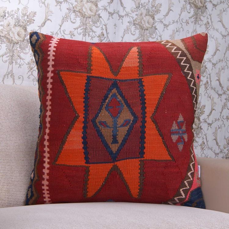 Large Handmade Kilim Pillow Decorative 24x24 Colorful Sofa