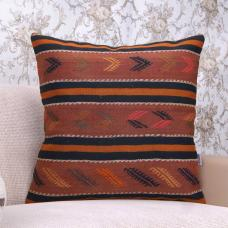 Orange Love? Embroidered Vintage Kilim Pillow Old Handmade Rug Cushion