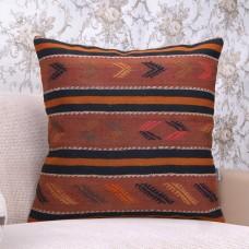 Orange Love? Embroidered Vintage Kilim Pillow Old Handmade Rug Cushion