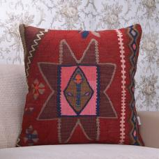 "Pink Centered Bohemian Decor Throw Kilim Pillow 24"" Square Rug Cushion"