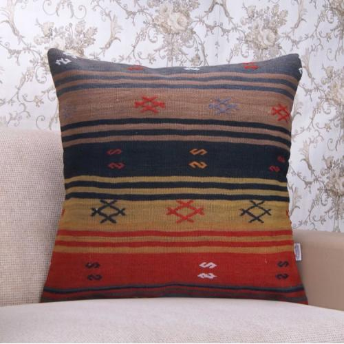 "Striped Large Decor Throw Pillowcase Handmade 24x24"" Vintage Rug Pillow"