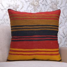 "Striped Large Kilim Pillow 24x24"" Handmade Turkish Rug Vintage Cushion"