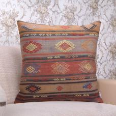 "Vintage Large Kilim Pillow 24"" Embroidered Tribal Anatolian Rug Cushion"
