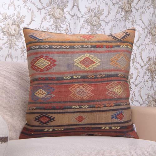 "Vintage Large Kilim Pillow 24"" Embroidered Tribal Anatolian Rug Cushion"