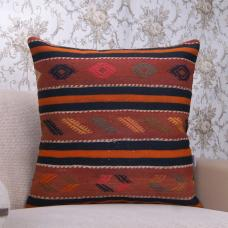 "Vintage Turkish Large Kilim Pillow 24"" Oranges Embroidered Rug Cushion"