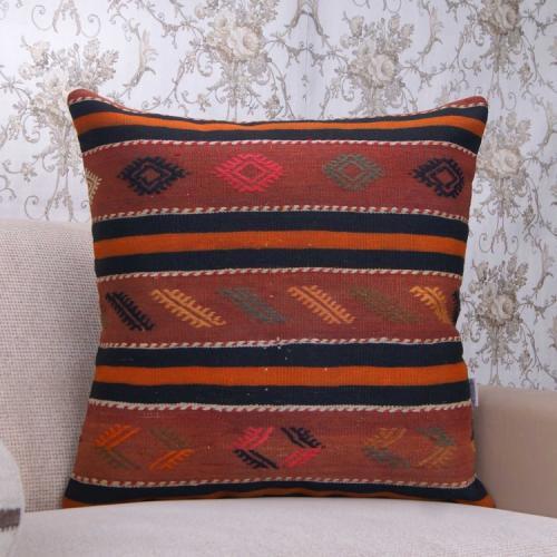 "Vintage Turkish Large Kilim Pillow 24"" Oranges Embroidered Rug Cushion"