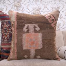 Antique Eastern Kilim Pillow 24x24 Large Decorative Turkish Rug Cushion