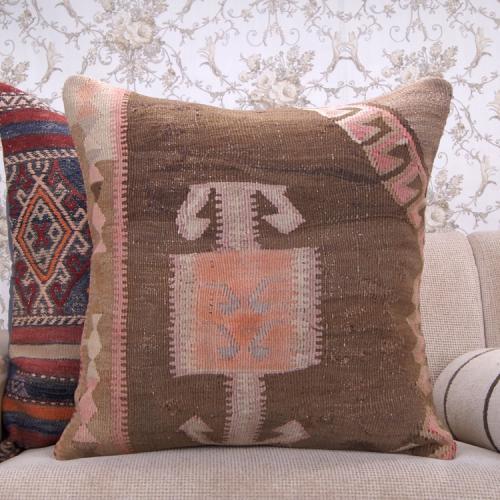 Antique Eastern Kilim Pillow 24x24 Large Decorative Turkish Rug Cushion
