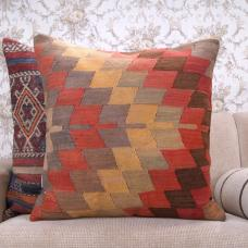 "Antique Large Kilim Pillow 24x24"" Geometric Old Handmade Rug Cushion"