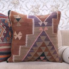 "Eastern Large Kilim Cushion 24x24"" Eclectic Interior Decor Throw Pillow"