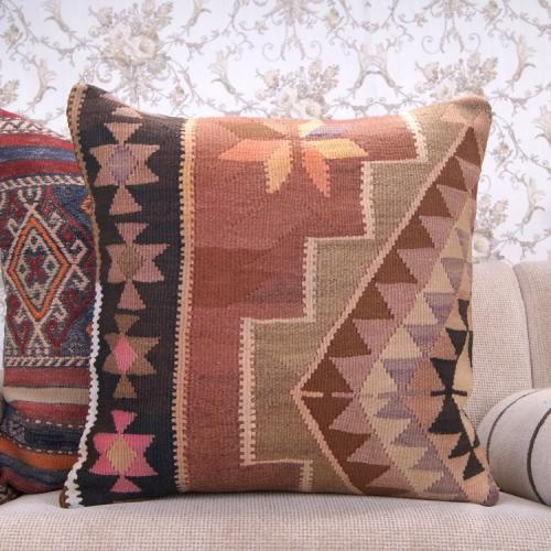 "Eastern Pastel Kilim Pillow 24x24"" Large Eclectic Interior Decor Throw"