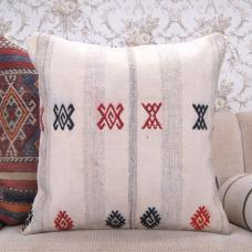 Embroidered Cottage Chic Kilim Pillow 24x24 Modern Decor Accent Cushion
