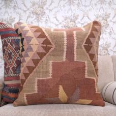 Southwestern Kilim Throw Pillow Soft Colorful 24x24 Turkish Rug Cushion