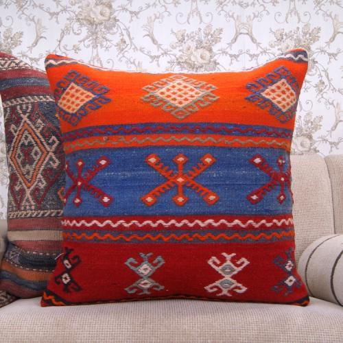Vibrant Colorful Kilim Pillow Large Embroidered Eclectic Rug Cushion