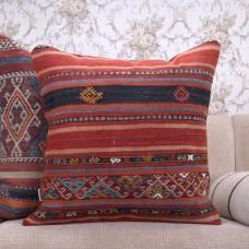 Vintage Anatolian Rug Pillow Striped 24x24 Large Home Decor Kilim Throw