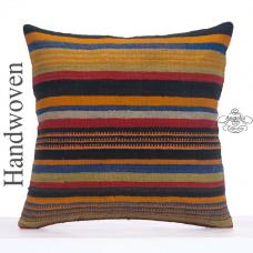 Big Decorative Kilim Pillow 26x26 Striped Colorful Turkish Rug Cushion
