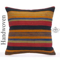 "Colorful Throw Pillow 26x26"" Big Kilim Rug Cushion Striped Decor Sham"