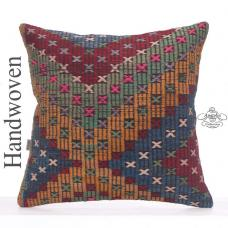 "Large Decorative Kilim Pillowcase 26"" Rustic Turkish Rug Throw Pillow"