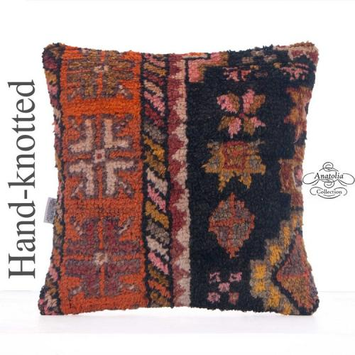 "Ethnic Hand Knotted Rug Pillow 16x16"" Home Decor Accent Retro Cushion"