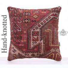 "Soft Hand Knotted Decorative Rug Pillow 20x20"" Large Boho Decor Throw"