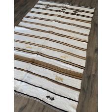5'  x 8'  White Hemp Kilim Rug Caramel Stripes Vintage Handmade